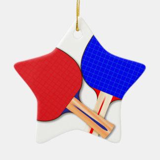 Zwei Tischtennis-Schläger Keramik Stern-Ornament