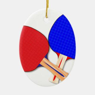 Zwei Tischtennis-Schläger Ovales Keramik Ornament