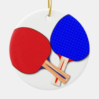 Zwei Tischtennis-Schläger Rundes Keramik Ornament