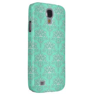 Zwei Ton-aquamariner Türkis-Damast Galaxy S4 Hülle