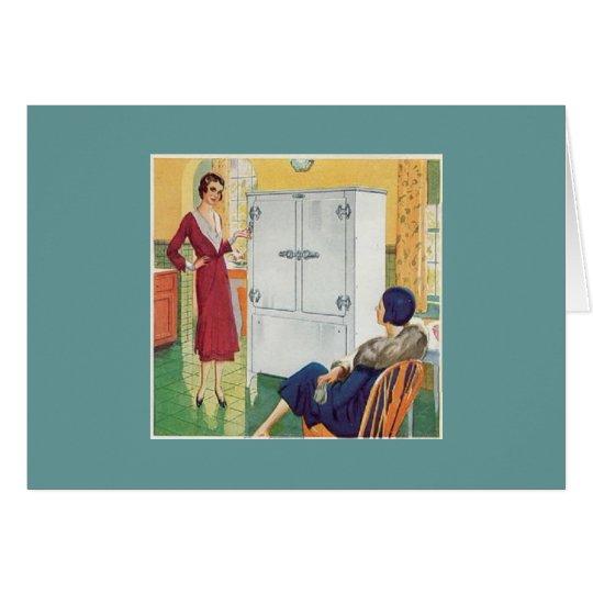Zwei Vintage Frauen in der Küche Grußkarte