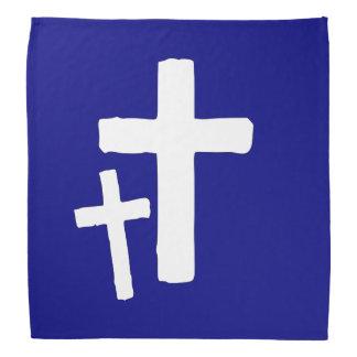 Zwei weiße Quersymbole auf Blau Kopftuch