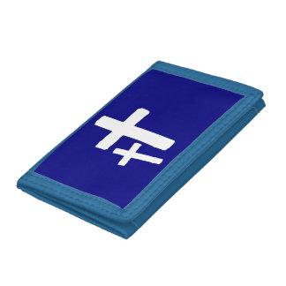 Zwei weiße Quersymbole auf blauer Geldbörse