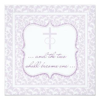 Zwei werden ein christlicher Hochzeits-Lavendel Karte