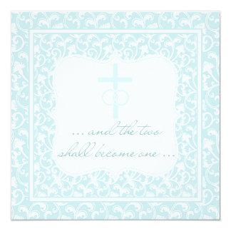 Zwei werden ein christliches Hochzeits-Aqua-Blau Karte