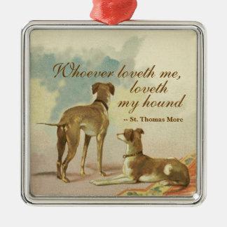 Zwei Windhunde/berühmtes St Thomas mehr Zitat Silbernes Ornament