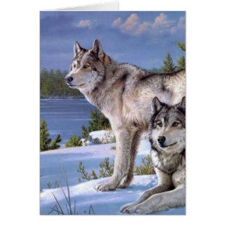 Zwei Wölfe auf Winter Sibirier Karte