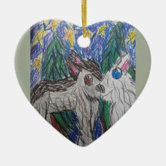 Zwei Wölfe Keramik Ornament