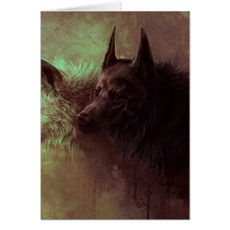 zwei Wölfe - Malereiwolf Karte
