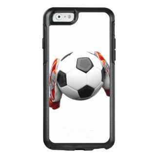 Zwei Zielwächterhandschuhe, die einen Fußball OtterBox iPhone 6/6s Hülle