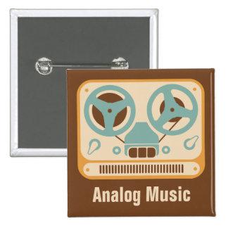 Zweispulen❝Analog Music❞ Tonbandgerät Quadratischer Button 5,1 Cm