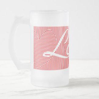 Zweiwegstreifen und Herz-Liebe-Tasse Mattglas Bierglas