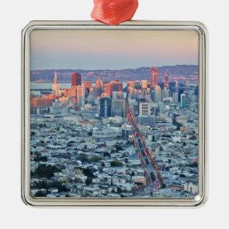 Zwilling ragt San Fransisco empor Silbernes Ornament