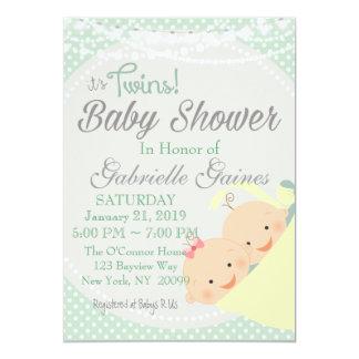 Zwillinge Junge Und Mu0026#228;dchen Babyparty Einladung Karte
