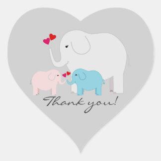 Zwillinge Junge und Mädchen-Elefant danken Ihnen Herz-Aufkleber