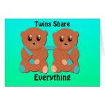 Zwillinge teilen alles grußkarte
