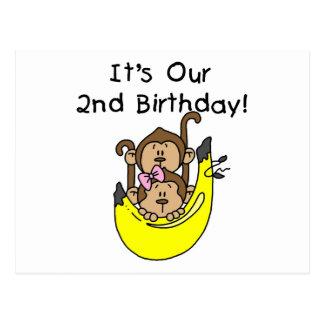 Zwillings-Affe-Jungen-und Mädchen-2. Geburtstag Postkarte