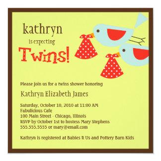 Zwillings-Babyparty-Einladung Quadratische 13,3 Cm Einladungskarte