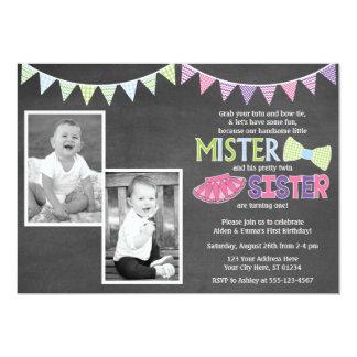 Zwillings-Geburtstags-Einladung - Tutus und Karte