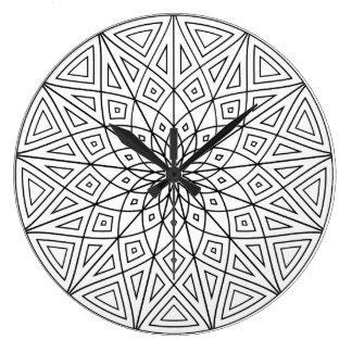 Zwölf Punkt-Mandala Große Wanduhr